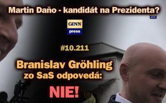 Branislav Gröhling zo SaS odpovedá: Martin Daňo prezident? NIE! #10.211