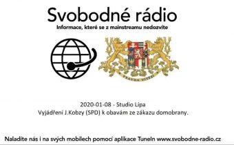 2020-01-08 – Studio Lípa – Vyjádření J.Kobzy (SPD) k obavám ze zákazu domobrany.