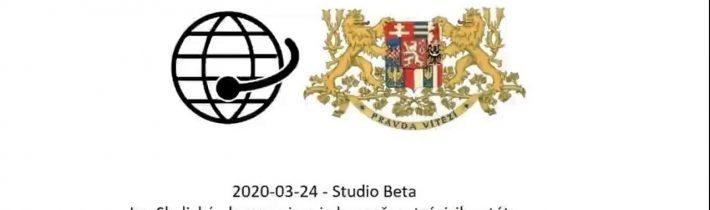 2020-03-25 – Studio Beta –  Josef Skála. Je to zkouška připravenosti republiky.